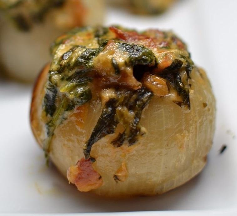 Grilled Spinach and Bacon Stuffed Onions