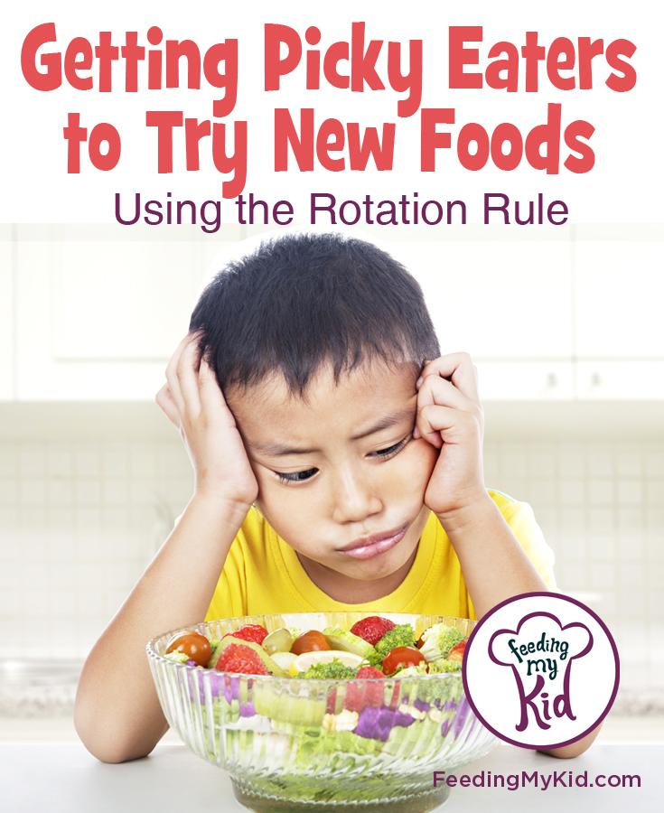 How To Get Picky Eaters Try New Foods Using The Rotation Rule. Do you have a picky eater? Check out article and video to find out how to get your picky eater to be an adventurous foodie.