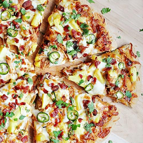 Pineapple Pulled Pork Pizza With Bacon, Jalapenos And Cilantro