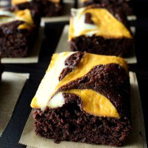 Pumpkin Cheesecake Swirled Brownies