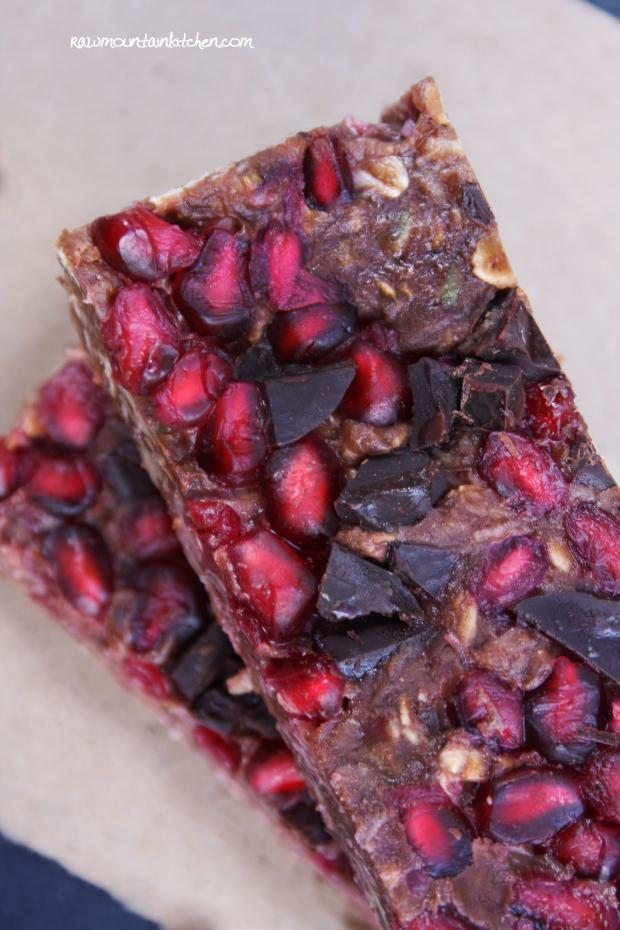 Raw Chocolate Pomegranate Protein Bars