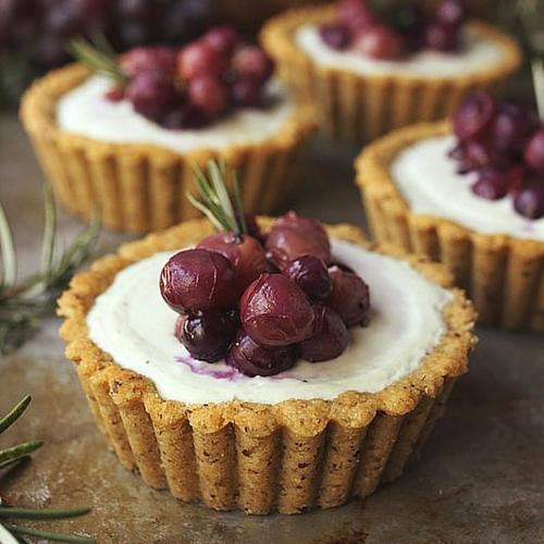 Roasted Grape And Rosemary Savory Goat Cheese Mini Tarts