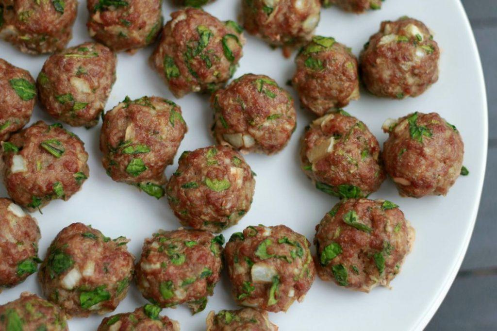 Spinach Cilantro Grain Free Meatballs