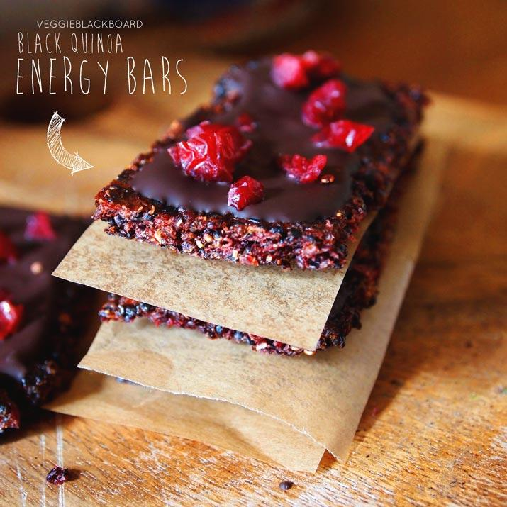 Black Quinoa Energy Bars with Cranberries and Chocolate