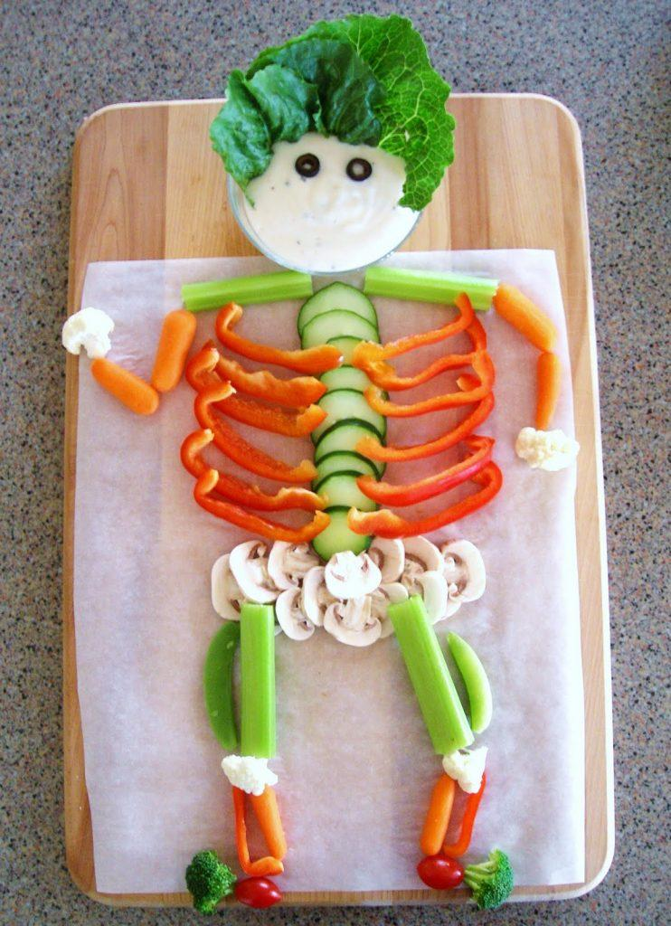 Halloween Party Ideas- Veggie Skeleton