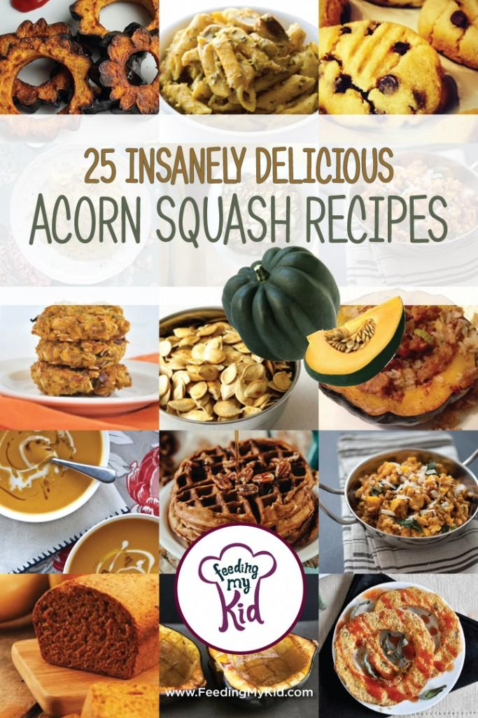 This is a must pin! Try these amazing acorn squash recipes. Everyone will love these! Feeding My Kid is a website for parents, filled with all the information you need about how to raise your kids, from healthy tips to nutritious recipes. #acornsquashrecipes #recipes #vegetables