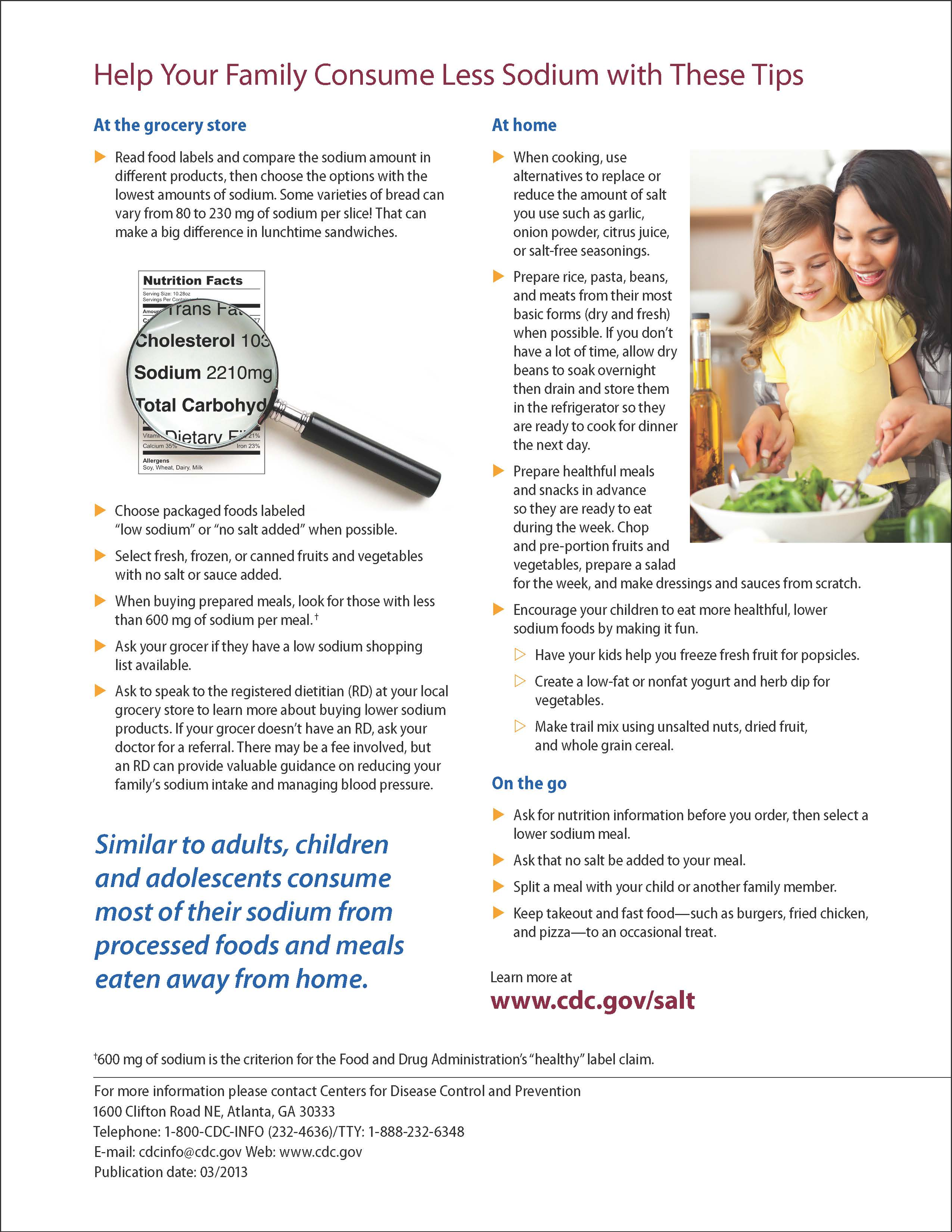 How Much Salt Should My Child Be Eating? Learn more about daily sodium intake