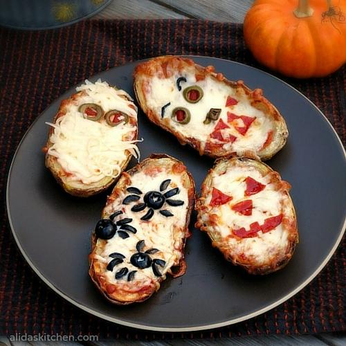 Halloween Baked Potato Skin Pizzas: halloween food