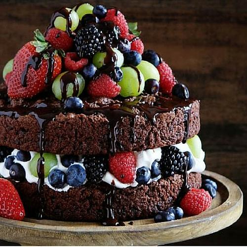 Lighter, Naked Chocolate Cake With Fruit