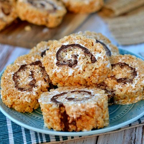 Smores Rice Krispies Treats Pinwheels