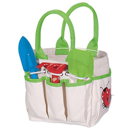 Toysmith Kid's Gardening Tote With Trowel Rake And Shovel