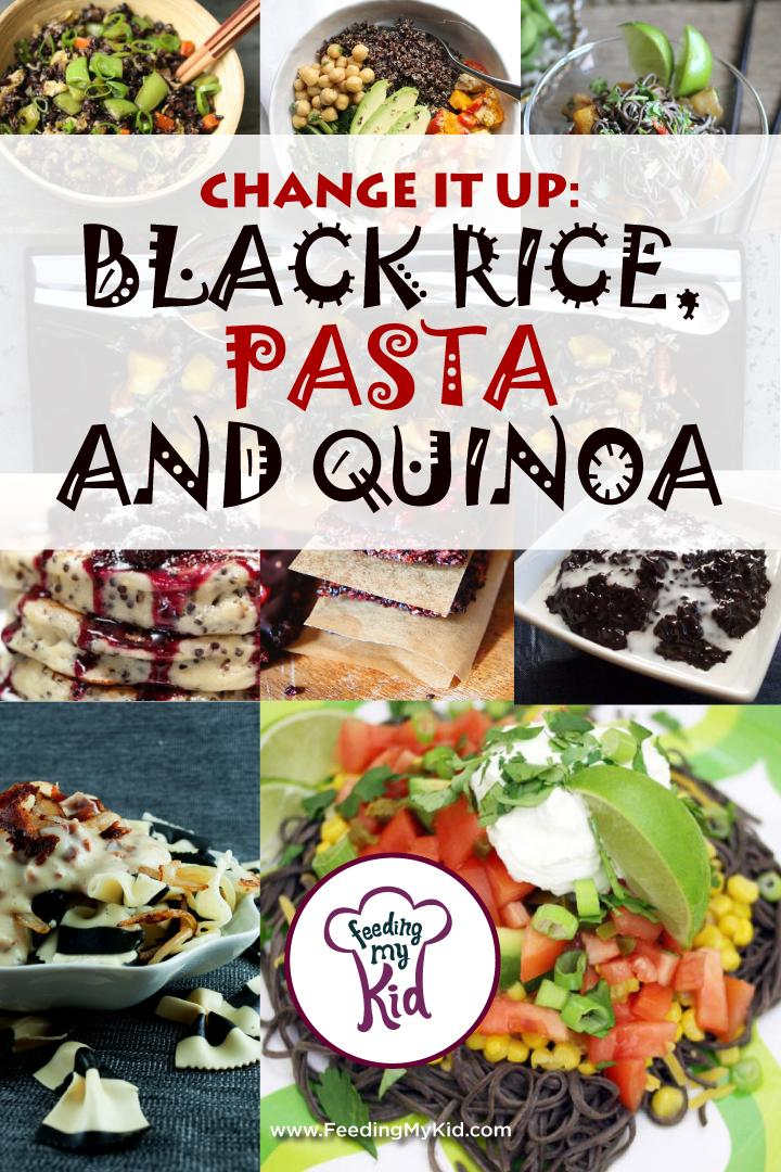This is a must share! Here are some amazing black rice, black pasta and quinoa recipes! These you'll enjoy! Feeding My Kid is a website for parents, filled with all the information you need about how to raise your kids, from healthy tips to nutritious recipes. #themenight #blackrice #recipes #pasta