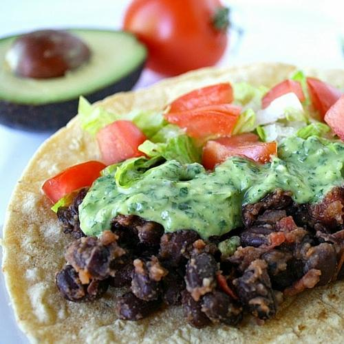 Black Bean Tacos With Avocado Cilantro Lime Sauce
