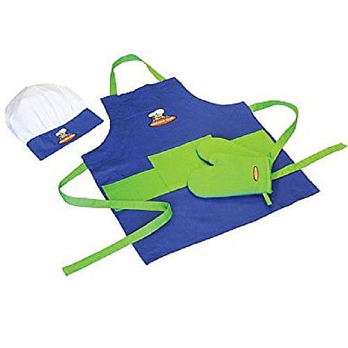 1 X Curious Chef 4 Piece Child Chef Textile Set - Blue And Green