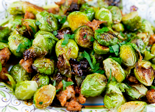 Golden Roasted Brussels Sprouts with Sausage and Garlic