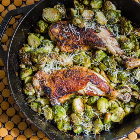 One-Pan Crispy Chicken Legs and Brussels Sprouts