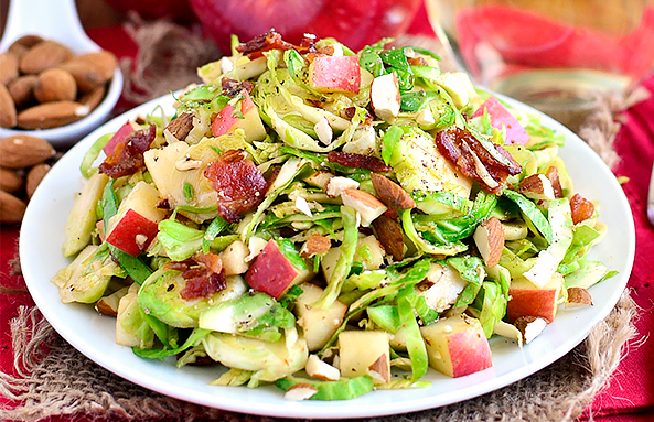 Apple, Almond, Bacon and Brussels Sprouts Salad