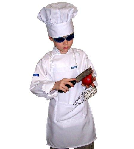 Chefskin White Apron Kids Children 7-12 Yrs Real Fabric