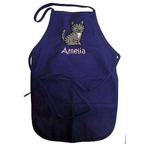 Personalized Child's Chef Apron with Embroidered Tabby Cat