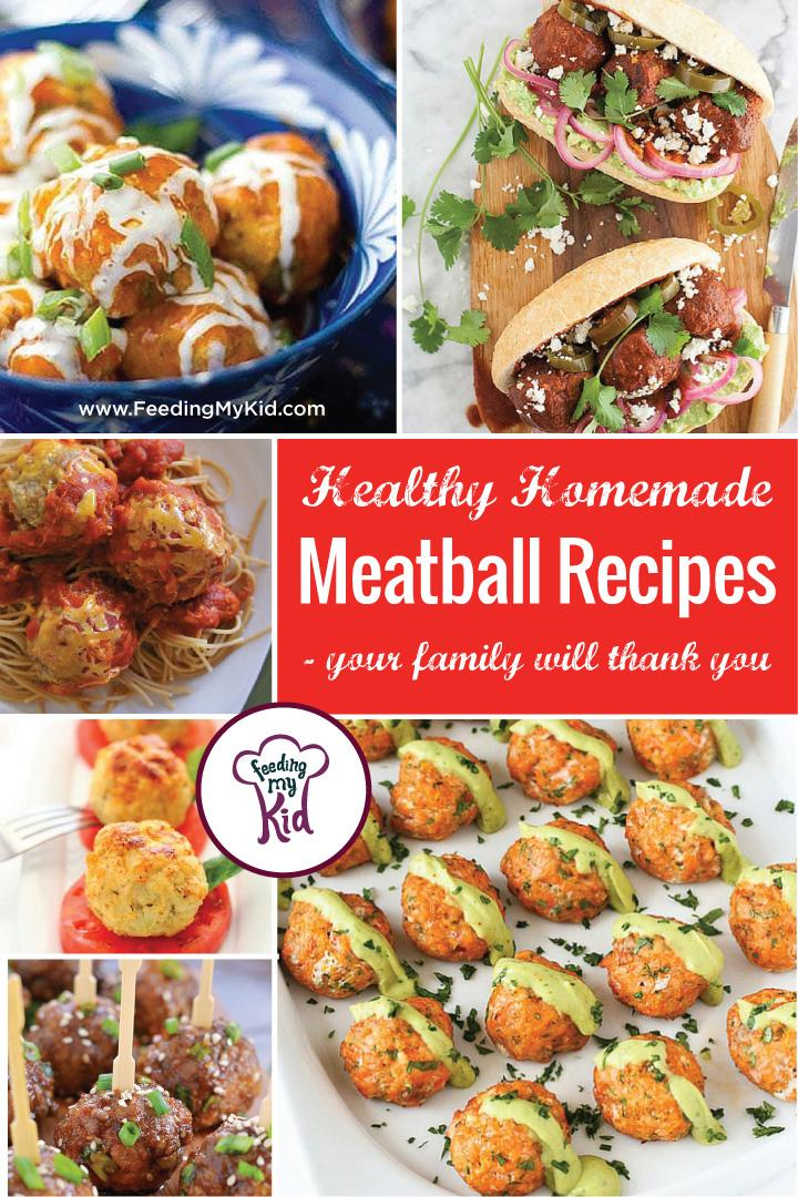 This is a must pin! Try these amazing healthy homemade meatball recipes. They're perfect for the whole family! Feeding My Kid is a website for parents, filled with all the information you need about how to raise your kids, from healthy tips to nutritious recipes. #meatballs #recipes