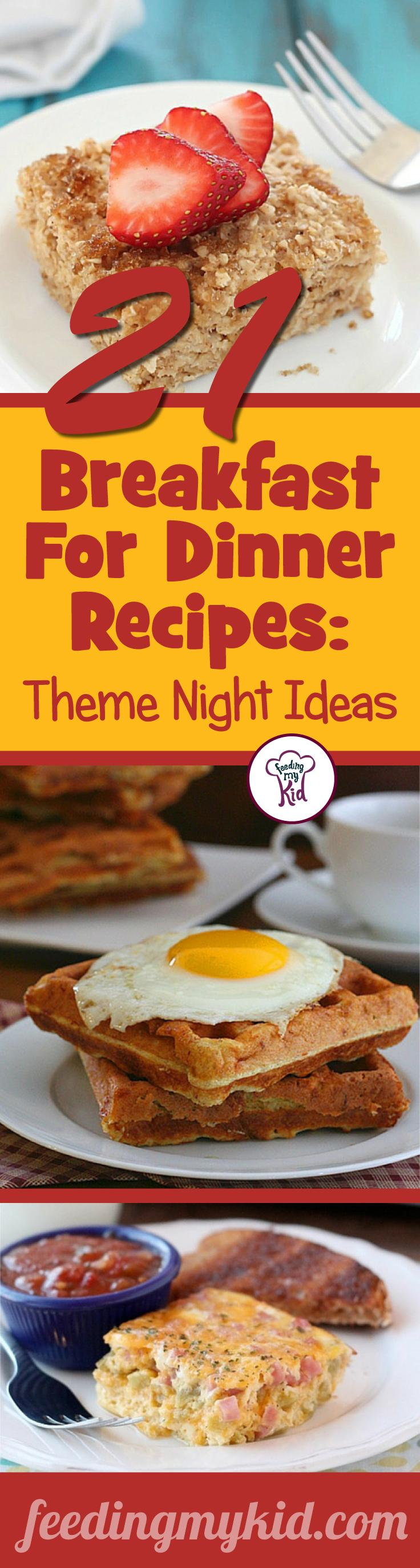 This is a must pin! Try these great breakfast for dinner recipes! Feeding My Kid is a great website for parents, filled with all the information you need about how to raise your kids, from healthy tips to nutritious recipes.