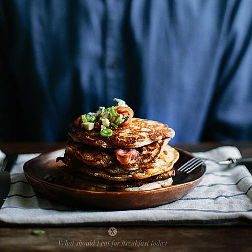 Buckwheat Pancakes With Blue Cheese, Bacon And Maple Syrup