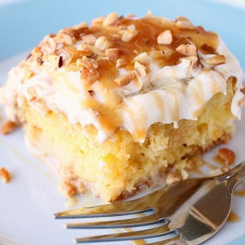 Caramel Banana Nut Poke Cake Recipe
