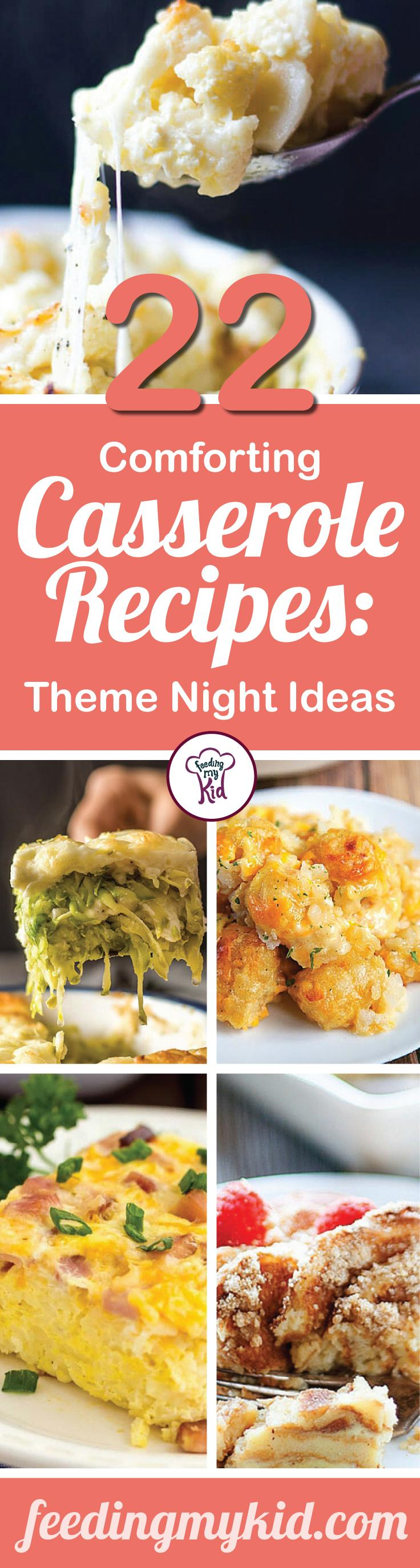 This is a must share! These comforting casserole recipes make the perfect theme night for your dinner tonight. Feeding My Kid is a great website for parents, filled with all the information you need about how to raise your kids, from healthy tips to nutritious recipes. #dinner #themenight