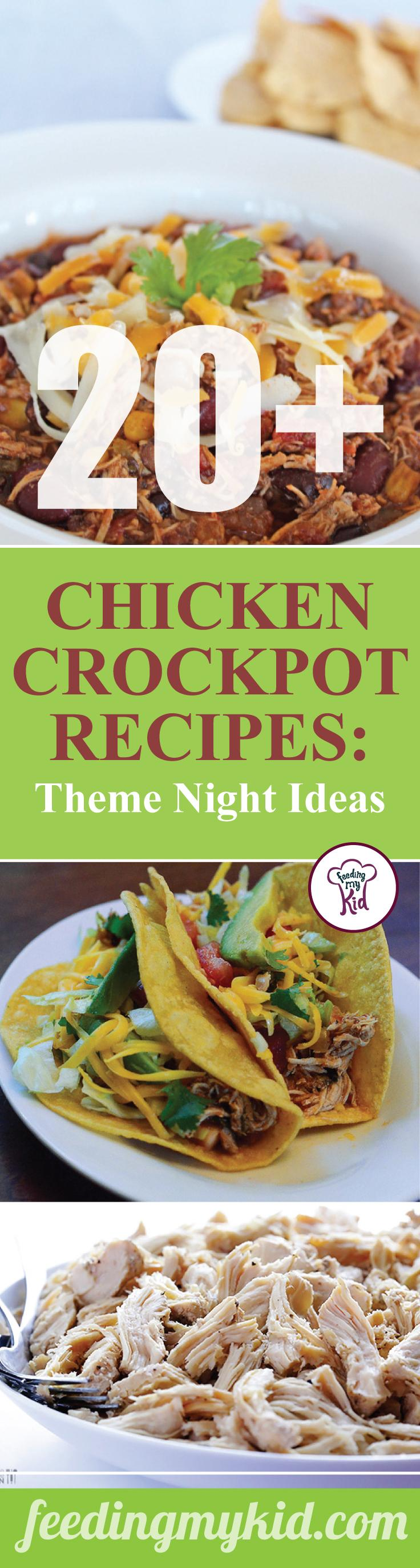 These chicken crockpot recipes makes the perfect theme night. Feeding My Kid is a great website for parents, filled with all the information you need about how to raise your kids, from healthy tips to nutritious recipes. #crockpot #mealtime #themenight #chicken
