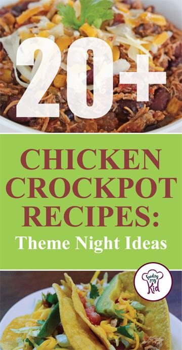 This is a must pin! These chicken crockpot recipes makes the perfect theme night. Feeding My Kid is a great website for parents, filled with all the information you need about how to raise your kids, from healthy tips to nutritious recipes. #crockpot #mealtime #themenight #chicken