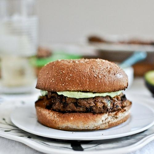 Double Bean Burgers With Avocado Basil Cream