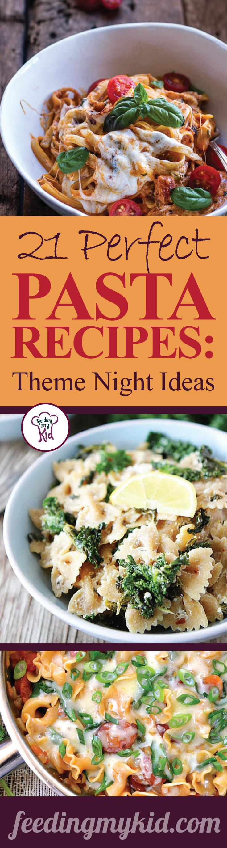 This is a must pin! You'll want to try these great pasta recipes. Feeding My Kid is a great website for parents, filled with all the information you need about how to raise your kids, from healthy tips to nutritious recipes. #pasta #mealtime #themenight