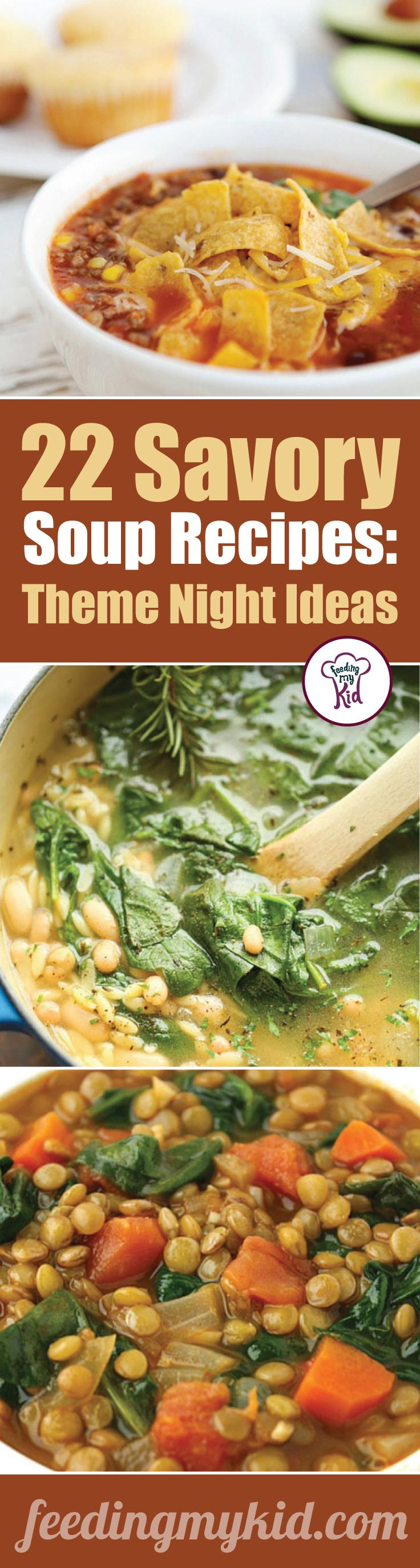 You'll want to share this! These soup recipes are warm and delicious and will make the perfect meal for any occasion. Feeding My Kid is a great website for parents, filled with all the information you need about how to raise your kids, from healthy tips to nutritious recipes. #soup #mealtime #themenight