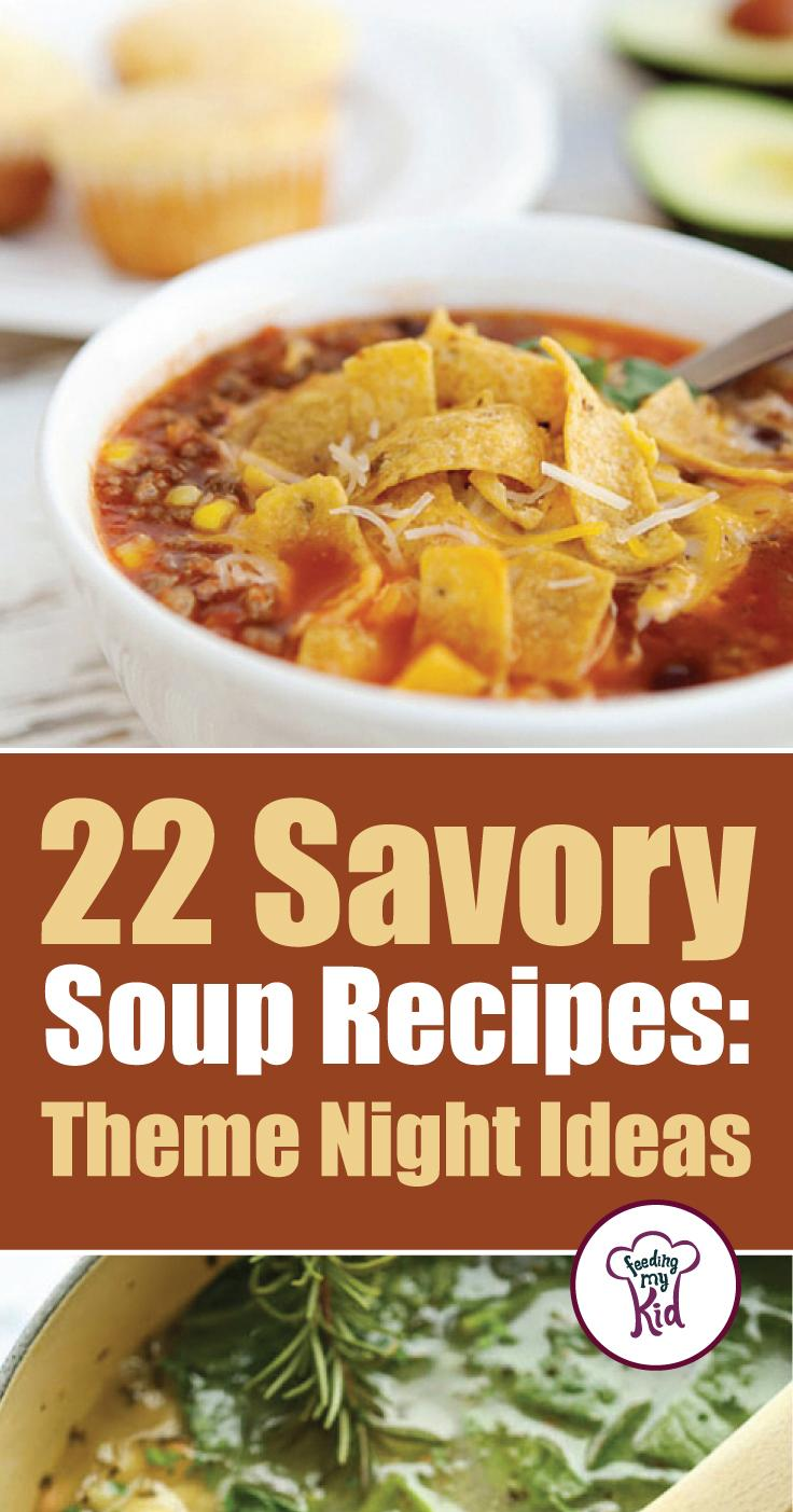 These soup recipes are warm and delicious and will make the perfect meal for any occasion. Feeding My Kid is a great website for parents, filled with all the information you need about how to raise your kids, from healthy tips to nutritious recipes. #soup #mealtime #themenight