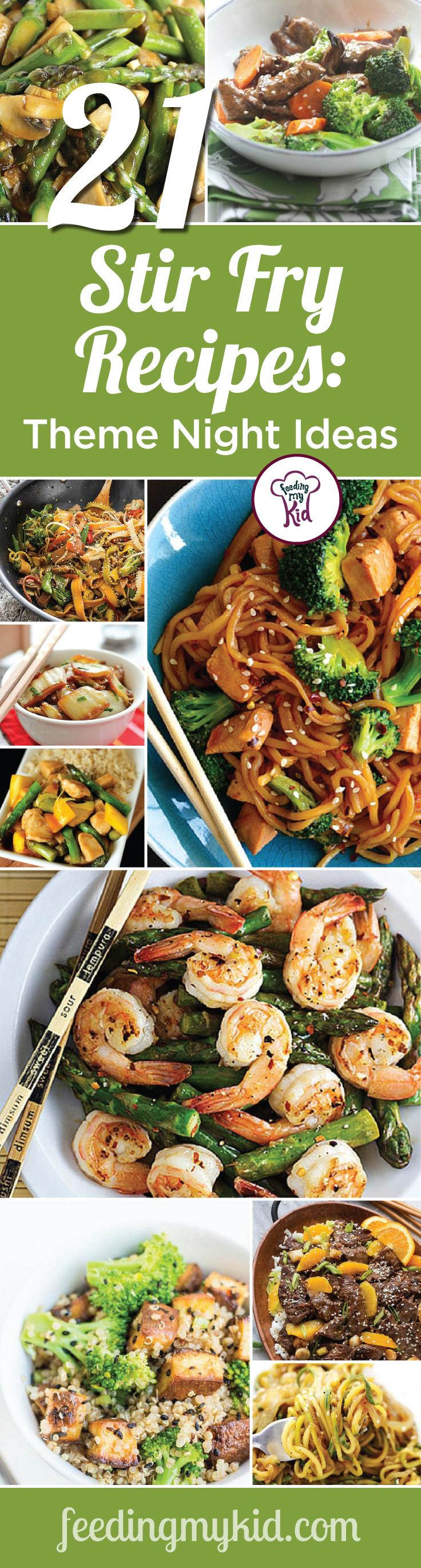 This is a must pin! Try these great stir fry recipes, perfect for your theme night! Feeding My Kid is a great website for parents, filled with all the information you need about how to raise your kids, from healthy tips to nutritious recipes. #stirfry #themenight