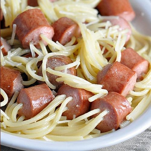 Threaded Spaghetti Hot Dog Bites
