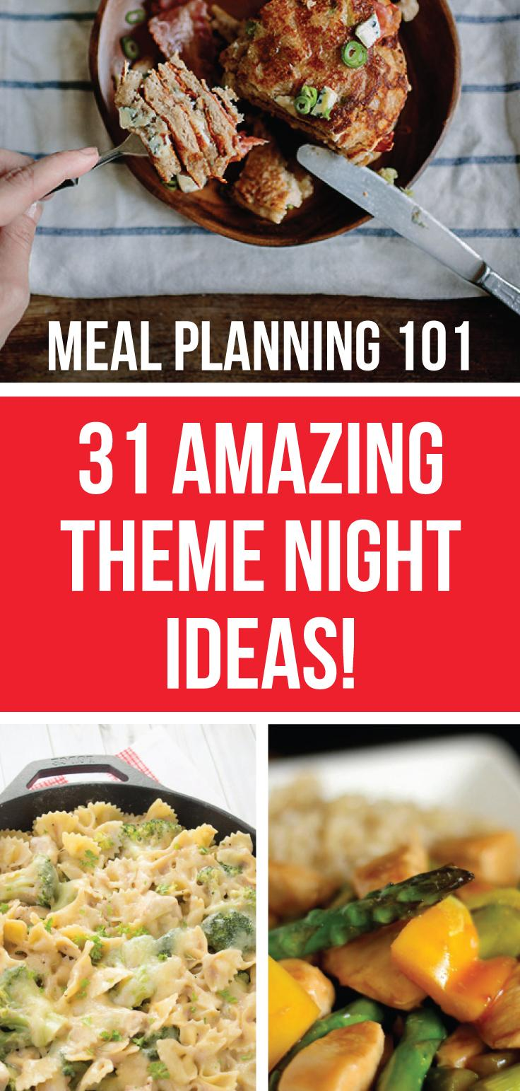 Here are some amazing theme night ideas for mealtime! These are perfect for any family who wants to spice things up! Feeding My Kid is a website for parents, filled with all the information you need about how to raise your kids, from healthy tips to nutritious recipes. #themenight #mealplanning #recipes