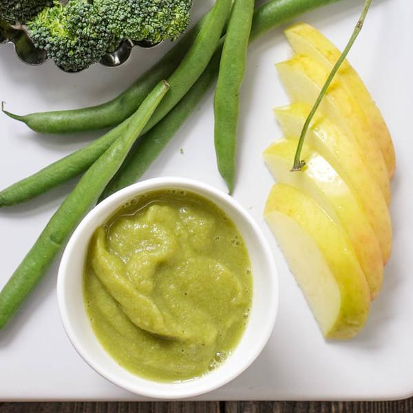 Apple,Green, Beans And Broccoli Puree