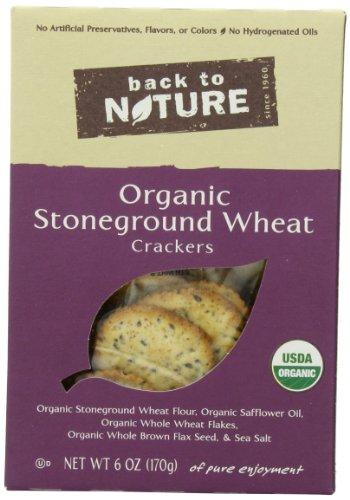 Back To Nature Organic Stone Ground Wheat Crackers, 6-Ounce Boxes (Pack of 6)