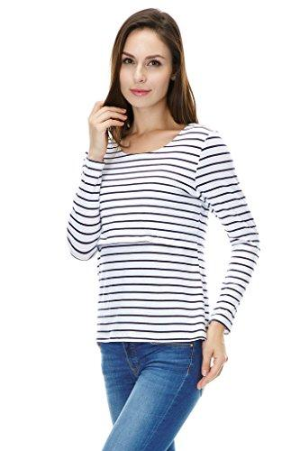 Bearsland Maternity Women's Striped Long Sleeves Maternity Nursing Top
