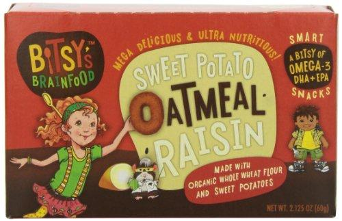 Bitsy's Brainfood Smart Snacks, Sweet Potato Oatmeal Raisin, 2.125 Ounce (Pack of 12)