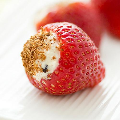 Chocolate Chip Cheesecake Stuffed Strawberries