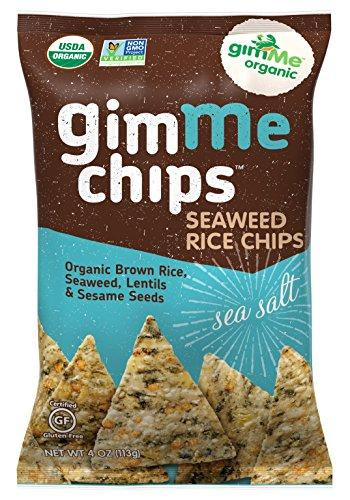 GimMe Health Foods Organic Seaweed Rice Chips, Sea Salt, 4 Ounce (Pack of 12)