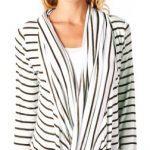 Popana Criss Cross Stripe Cardigan – Medium Brown Made In USA