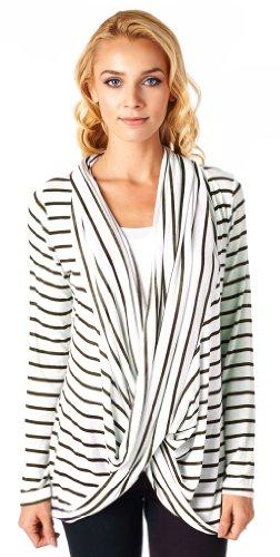 Popana Criss Cross Stripe Cardigan - Medium Brown Made In USA