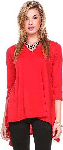 Stanzino Women Short Sleeve Comfy Loose Fit Long Tunic Top, Red ,Red ,Small