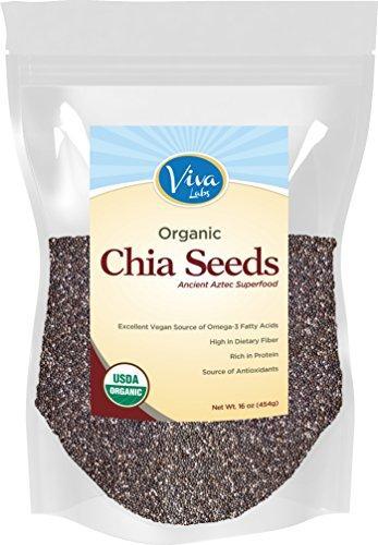 Viva Labs The Finest Organic Raw Chia Seeds, 1 Pound