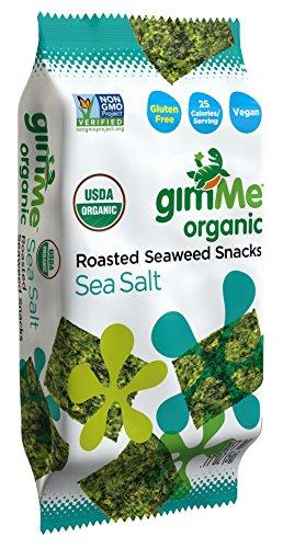 GimMe Health Foods Organic Roasted Seaweed Snacks, Sea Salt, 0.17 Ounce (Pack of 12)