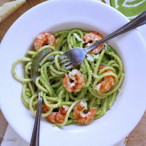 Artichoke Pesto Pasta With Grilled Shrimp