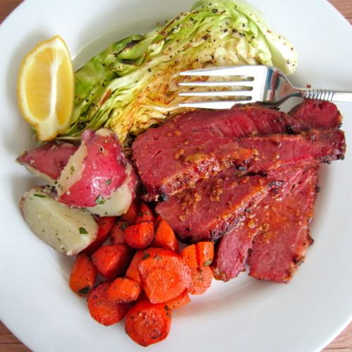 Baked Honey Mustard Corned Beef With Roasted Cabbage, Roasted Carrots, And Buttered Red Potatoes